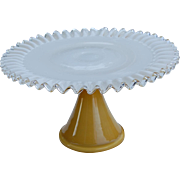 Ruffled Tall Amber to Milk Glass Cake Stand