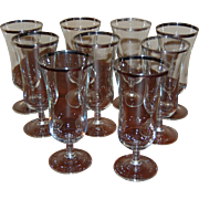 9 French Parfait Glasses Rimmed with Silver