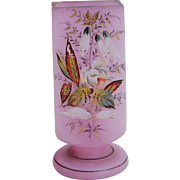 Pink Satin Glass Bristol Vase with Hand Painted Flowers