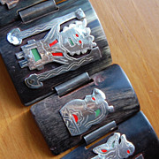 SALE Peruvian silver and enamel figural design on Horn Bracelet