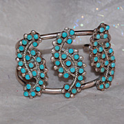 SALE Sterling and Turquoise Petit Point Cuff Bracelet