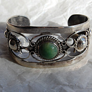 SALE Vintage Mexican Silver Cuff Bracelet with stone