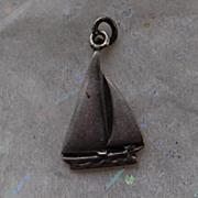 SALE Vintage Sterling Silver Sailboat Charm