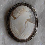 SALE Edwardian Shell Cameo Brooch Framed in Silver
