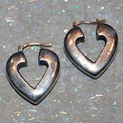 SALE Heart Shape Sterling Hollow Hoop Earrings