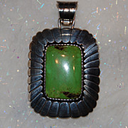 SOLD Magnificent Signed Gaspeite and Sterling Pendant