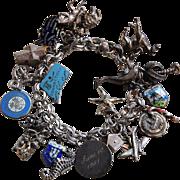 SALE Sterling Silver Vintage Charm Bracelet 20 Charms