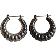 SALE Vintage Silver Ethnic Hollow Hoops