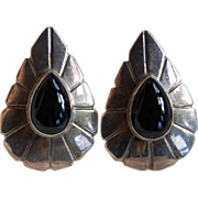 SALE Sterling and Onyx Tear Drop Earrings