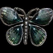 SALE Enamel on Pewter Green Butterfly