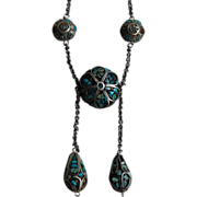 SALE Ethnic Turquoise Chip Inlay Dangle Bead Necklace