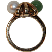 SALE 10K Gold Pearl and Nephrite Jade Dason Pinky Ring