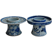 Chinese Export Porcelain Blue and White Candle Holders