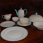 SALE Vintage Susie Cooper Breakfast Set Turquoise Swirl pattern