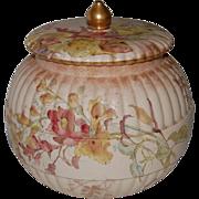 SALE English Doulton Burslem Hand Painted Biscuit Jar
