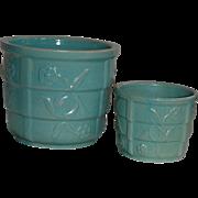 Two Mid Modern Aqua Green Jardiniere Flower Pots