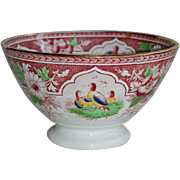 Polychrome Red Transferware Waste Bowl with Birds