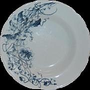 Turner's Tunstall England Blue Transferware Lotus  Soup Plate