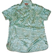 Chinese Green Dragon Brocade Collared Shirt Blouse