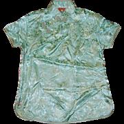 Chinese Green Dragon Brocade Collared Shirt Blouse