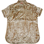 Chinese Gold Dragon Brocade Collared Shirt Blouse Small