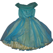 1960's Blue over Yellow Party Prom Dress Large Circle Skirt