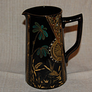 SALE Victorian Aesthetic Black Amethyst Pitcher w/ Paint and Enamel Decorations
