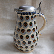 SALE Signed German Pitcher w/ Pewter  Lid Peacock Feather Pattern