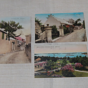 3 Vintage 1930 Bermuda Island Scenic Postcards Hand Colored