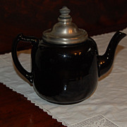 Unusual Brown Teapot with Metal Lid and Infuser