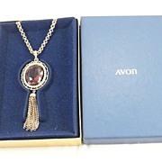 SALE Avon Tassel Pendant Necklace with Box Large Faux Amethyst  Stone Vintage Elegant