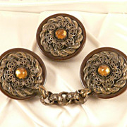 SALE Bakelite Button and Matching Cloak Clasp Impressive Vintage