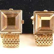 SOLD Vintage Mesh Wrap Cufflinks with Mirror Back Faceted Glass Stones Impressive