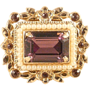 Coro Brooch Purple Glass Stones Vintage Victorian Style