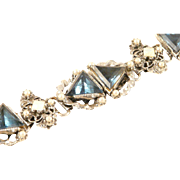 Chunky Bracelet Blue and Opalescent Stones Statement Piece Silvertone Vintage