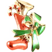 Beatrix Christmas Stocking Pin Brooch Candy Cane Horn and Bow Vintage