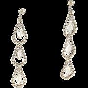 SALE Rhinestone Shoulder Duster Earrings Dangle Statement Vintage Chandelier