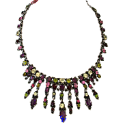 SALE 21830a - Hollycraft 1954 Green Rose Red Purple Yellow Very Rare BIB Necklace