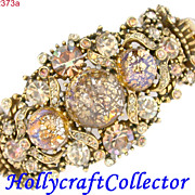 SALE 22373a - Hollycraft 1958 Brown Yellow Peach Cat Eyes Double Hinged Bracelet