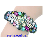 SALE 25219a - Rainbow Multi Color HOLLYCRAFT RARE Black Painted Double Hinged Bracelet