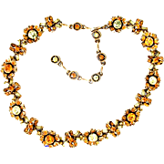 SALE 25783a - Vintage Hollycraft 1956 Topaz & Pale Yellow Colored Necklace
