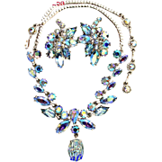 SOLD 26425a - Hollycraft Blue AB Navette & Chaton Stones Necklace & Earrings