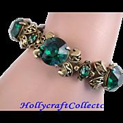 SALE 28046a - Vintage HOLLYCRAFT 1952 Five Huge Green Emerald Rhinestones Bracelet