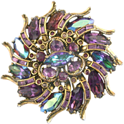 28316a - Vintage Hollycraft 1959 Purple Purple AB Blue AB Stone HUGE Brooch