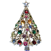 SALE 28457a - Vintage Hollycraft White Christmas Tree Pin with Multi Color Stones