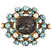 "SALE 28530a - RARE HOLLYCRAFT ""Haskell Look"" Aquamarine Color & Pearls Brooch"