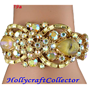 SALE 28579a - Vintage Hollycraft 1959 Yellow AB & Yellow Opal Hinged Cuff Bracelet