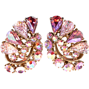 SALE 28928a - Hollycraft Pink Iridescent Crackle & Pink AB Stones Huge Clip Earrings