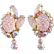 SALE 28937a - Hollycraft Pink Iridescent Crackle & Pink Dangle Clip Earrings