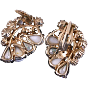 SALE 28956a - Hollycraft White Iridescent Crackle & Clear AB Stones Huge Clip Earrings